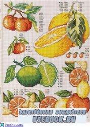 Схемы вышивки крестом. Овощи и фрукты