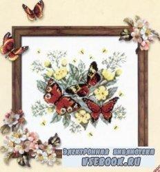 Схема для вышивки крестиком - Бабочки в цветах
